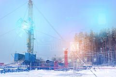 Conceptual representation of the future technologies, the use of artificial intelligence for the overhaul of an oil and gas well,. Fully automatic excluding stock photography