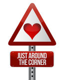 Conceptual road sign on love Stock Images