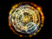 Conceptual Sacred Geometry. Orbits of Destiny series. Backdrop of sacred symbols, signs, geometry and designs on the subject of astrology, alchemy, magic Royalty Free Stock Photos