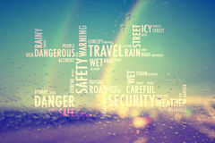 Conceptual safety rainy driving word cloud background Royalty Free Stock Images