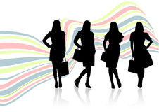 Conceptual sale illustration with women shapes Royalty Free Stock Photos