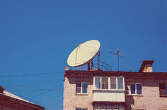 Conceptual of satellite and antenna Stock Photo