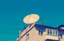 Conceptual of satellite and antenna Stock Photography