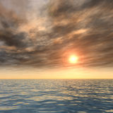 Conceptual sea water and sunset sky Royalty Free Stock Image