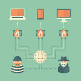Conceptual Security Illustration of a Flat Style Royalty Free Stock Photo