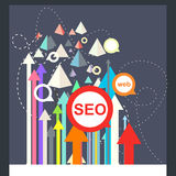 Conceptual SEO  illustration. SEO  illustration on blue background stock illustration