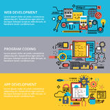 Conceptual set of program development. Modern flat editable line design vector illustration, conceptual set of program coding, app and web development process Royalty Free Stock Images