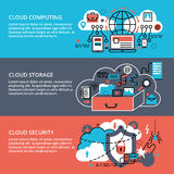 Conceptual set of remote cloud computing technologies. Modern flat thin line design vector illustration, conceptual set of remote cloud data storage, cloud Stock Images