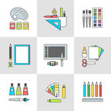 Conceptual set of vector flat icons for design accessories. Conceptual icon set, vector illustration of modern items, accessories and devices for design and art Stock Image