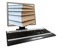 Conceptual shot of computer screen. Full with books - electronic library Royalty Free Stock Photos