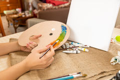Conceptual shot of drawing hobby at home Royalty Free Stock Photography