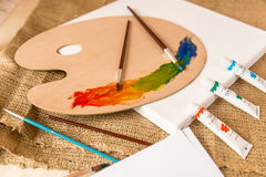Conceptual shot of mess on working table at artist studio Royalty Free Stock Photo