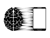 A conceptual sign or logo showing a person s dependence on a smartphone, gadget or the Internet. Strong communication of. The brain and new technologies. Black Stock Photos