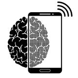 A conceptual sign or logo showing a person s dependence on a smartphone, gadget or the Internet. Strong communication of. The brain and new technologies. Black Royalty Free Stock Photos