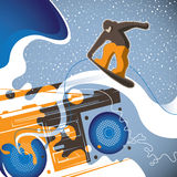 Conceptual snowboarding banner. Stock Images