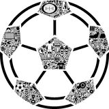 Conceptual Soccer Ball. This is a conceptual soccer ball made of differnt icons Royalty Free Stock Images