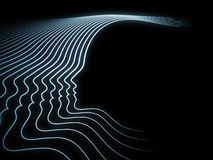 Conceptual Soul Geometry. Geometry of Soul series. Composition of profile lines of human head suitable as a backdrop for the projects on education, science Stock Photo