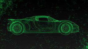 The conceptual sports car in the form of translucent hologram rotating in space with flying around polygons. The conceptual sports car in the form of stock video footage