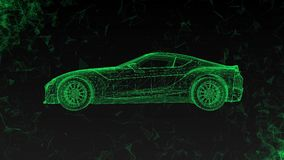 The conceptual sports car in the form of translucent hologram rotating in space with flying around polygons. The conceptual sports car in the form of stock footage