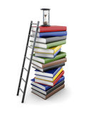 Conceptual stacks of books on a white background. 3d rendering.  Royalty Free Stock Photography