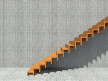 Conceptual stair on wall background building. Or architecture as metaphor to business success, growth, progress or achievement. 3D illustration of creative Stock Images