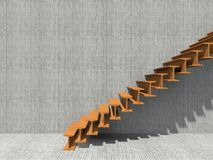 Conceptual stair on wall background building. Or architecture as metaphor to business success, growth, progress or achievement. 3D illustration of creative Royalty Free Stock Image