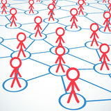 Conceptual: Stick figures building network Royalty Free Stock Photography