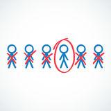 Conceptual: Stick figures circled and crossed out Stock Photos