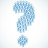 Conceptual: Stick figures shaping question mark Royalty Free Stock Photo