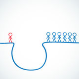 Conceptual: Stick figures standing at precipice. Conceptual vector illustration of a group of stick figures standing at a precipice with one highlighted Stock Images