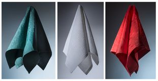 three cotton napkins. Conceptual still life composition of three cloth napkins simulating the italian flag Royalty Free Stock Image