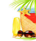 Conceptual summer fun border. Beach items isolated on white background, summertime tropical vacation and travel, women's accessories for outdoor relaxation stock images