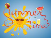 Conceptual summer time banner with elements of the beach and calligraphy. Stock Photos