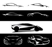 Conceptual supercar vehicle silhouette set Stock Images