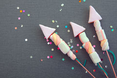 Conceptual Sweet Marshmallow Rocket Fireworks Royalty Free Stock Images