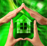 Conceptual Symbol Home. Conceptual home symbol made by hands Stock Images