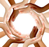 Conceptual symbol of multiracial human hands making a circle Royalty Free Stock Image