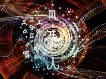Conceptual Symbolic Meaning. Astral Connection series. Backdrop composed of Zodiac and fractal geometry symbols and suitable for use in the projects on magic Stock Photo