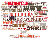 Conceptual tag cloud containing words related to cloud computing, computer performance, storage, networking, mobility, software ot Stock Photography
