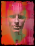 Conceptual Techno Stock Image of Curcuit Portrait. From the series Mechanical portraits . Conceptual techno image with mannequin face and circuit board royalty free illustration