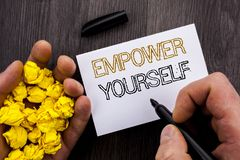 Conceptual text showing Empower Yourself. Business photo showcasing Positive Motivation Advice For Personal Development written on. Conceptual text showing Royalty Free Stock Image