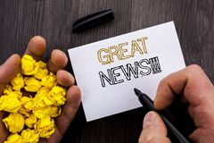 Conceptual text showing Great News. Business photo showcasing Success Newspaper Information Celebration written on Notebook Book M Stock Images
