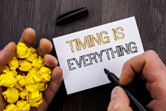 Conceptual text showing Timing Is Everything. Business photo showcasing Important Success Advice To Be Ready For Precision written. Notebook Book Man Writing stock photography