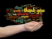 Conceptual thank you word cloud isolated. Conceptual thank you multilingual word cloud in hands isolated on background Stock Photos