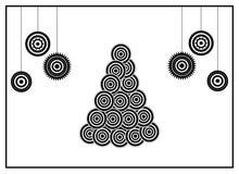 Conceptual tree. BW xmas card: conceptual xmas tree and xmas balls Stock Photography