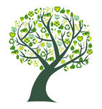 Conceptual tree with bio eco and environmental symbols and icons Stock Photo