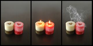 Conceptual triptych of passion transience. Conceptual  triptych of passion transience and temporariness Stock Photos