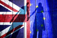 Conceptual Uk an Eu flags with people royalty free stock photo