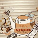 Conceptual  vector background with coffee and tea Stock Photo