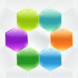 Conceptual vector of colorful polyhedrons. Banners. Conceptual vector of colorful polyhedron with info and numbers. Useful for banner design, business concept royalty free illustration